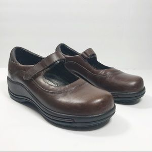 Dansko brown leather Mary Jane style clogs size 38